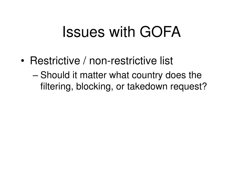 Issues with GOFA