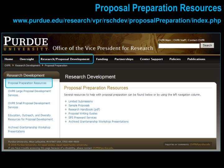 Proposal Preparation Resources