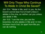 will only those who continue to abide in christ be saved