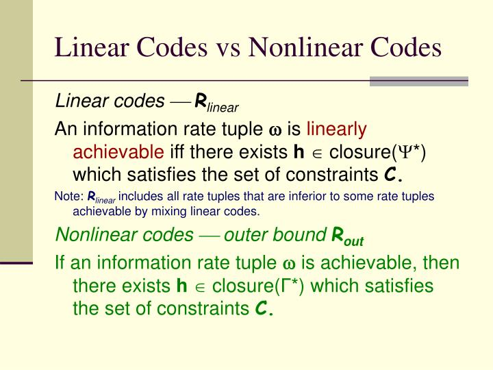 Linear Codes vs Nonlinear Codes