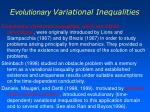 evolutionary variational inequalities