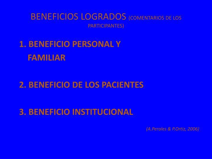 BENEFICIOS LOGRADOS