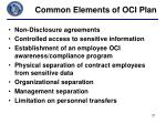 common elements of oci plan
