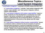 miscellaneous topics lead system integrator