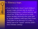 b illiteracy traps
