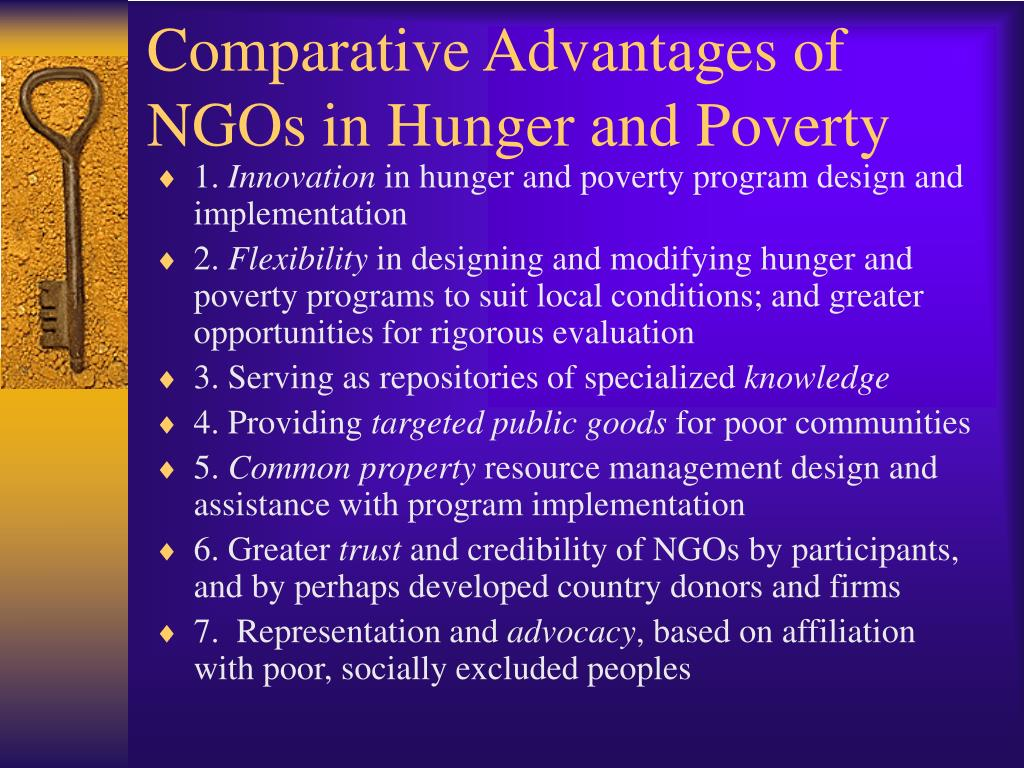 Comparative Advantages of NGOs in Hunger and Poverty