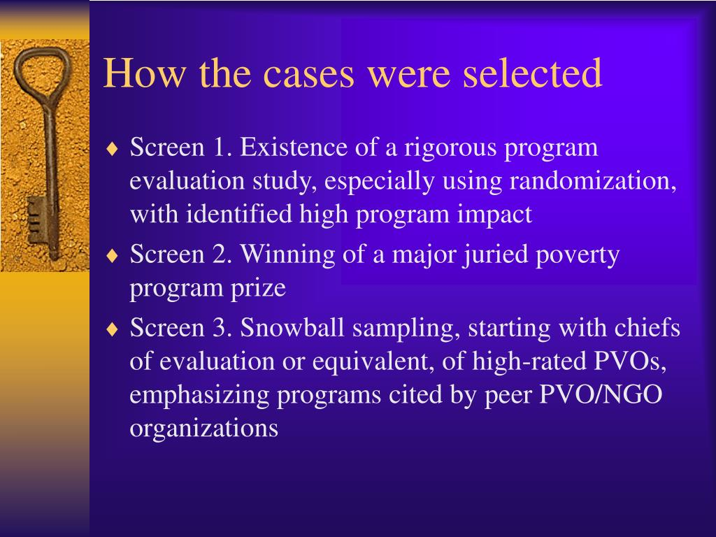 How the cases were selected