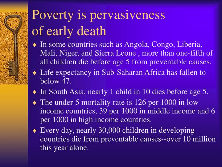 Poverty is pervasiveness of early death