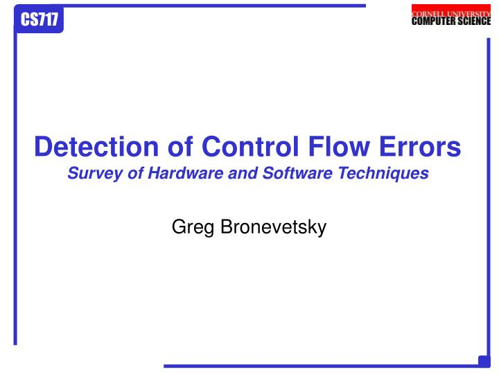 detection of control flow errors survey of hardware and software techniques n.
