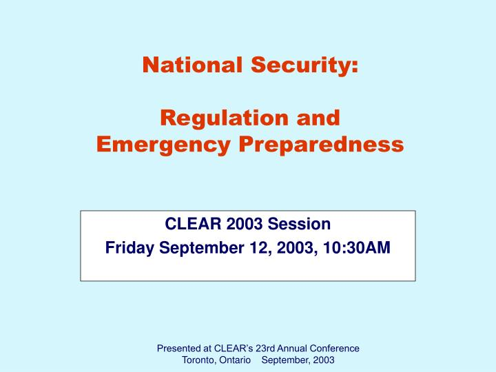 Clear 2003 session friday september 12 2003 10 30am