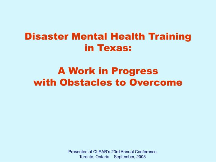 Disaster Mental Health Training