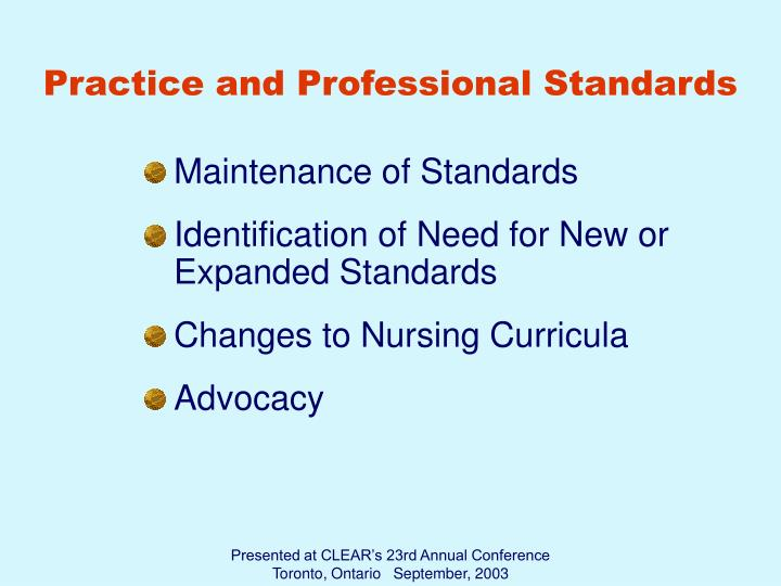 Practice and Professional Standards