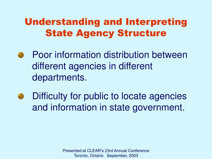 Understanding and Interpreting State Agency Structure