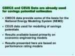 cbecs and ceus data are already used for savings potential estimates