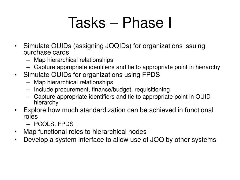 Tasks – Phase I