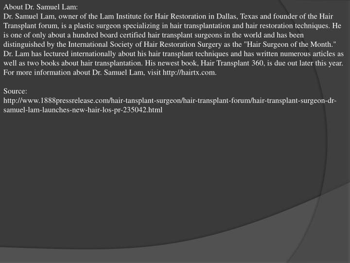 About Dr. Samuel Lam: