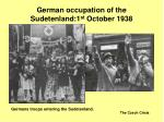 german occupation of the sudetenland 1 st october 1938