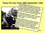 peace for our time 30th september 1938