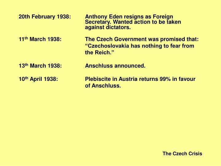 20th February 1938:Anthony Eden resigns as Foreign Secretary. Wanted action to be taken aga...