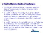 e health standardization challenges