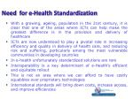 need for e health standardization