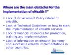 where are the main obstacles for the implementation of ehealth