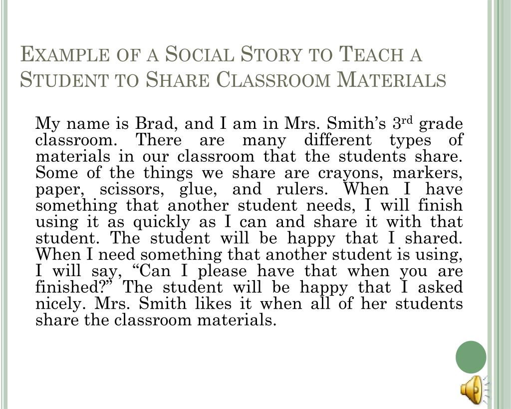Example of a Social Story to Teach a Student to Share Classroom Materials