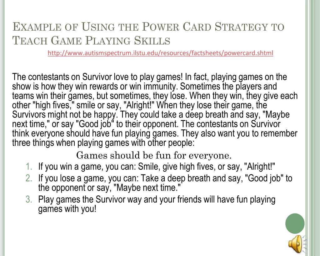 Example of Using the Power Card Strategy to Teach Game Playing Skills