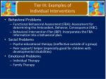 tier iii examples of individual interventions