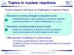 topics in nuclear reactions
