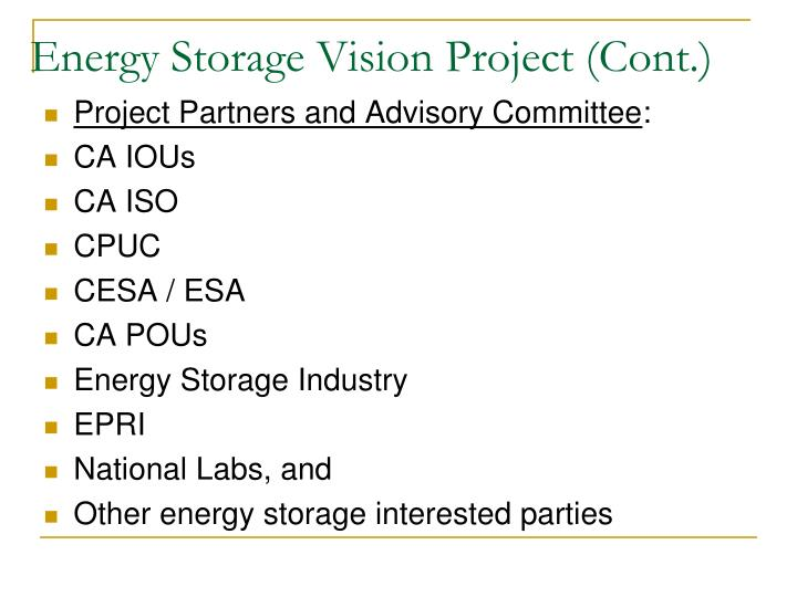 Energy storage vision project cont