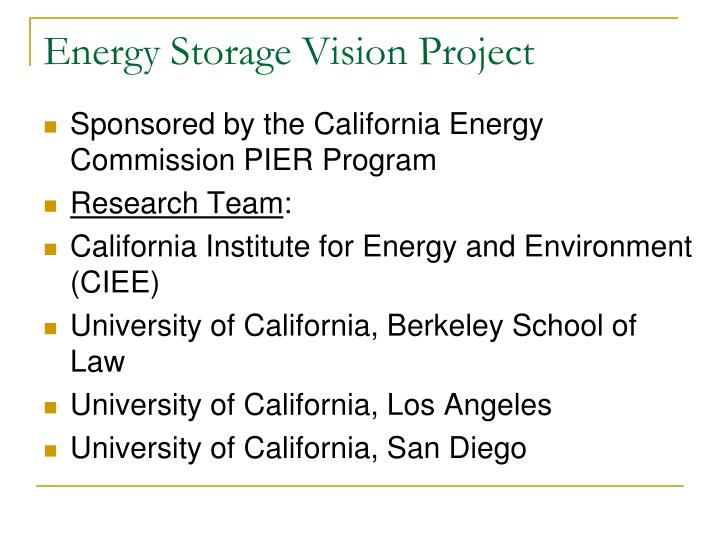 Energy storage vision project