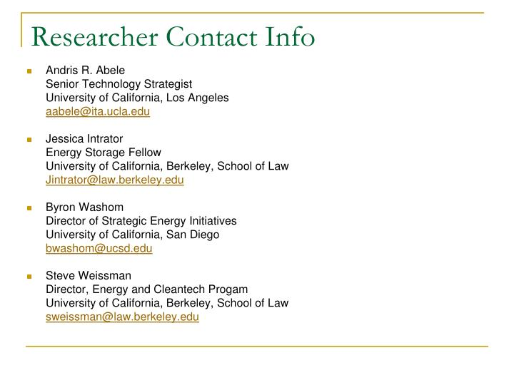 Researcher Contact Info