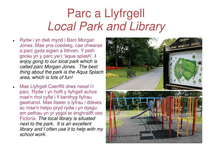Parc a llyfrgell local park and library