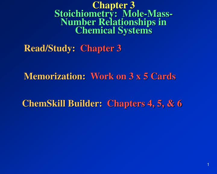 chapter 3 stoichiometry mole mass number relationships in chemical systems n.