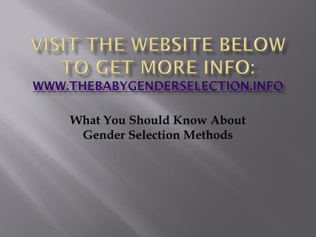 visit the website below to get more info www thebabygenderselection info l.