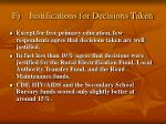 f justifications for decisions taken