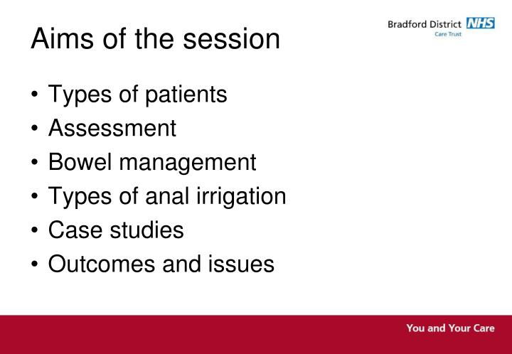 aims of the session n.