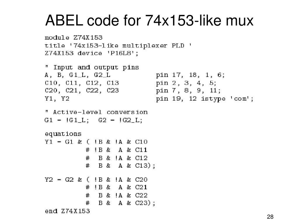 ABEL code for 74x153-like mux