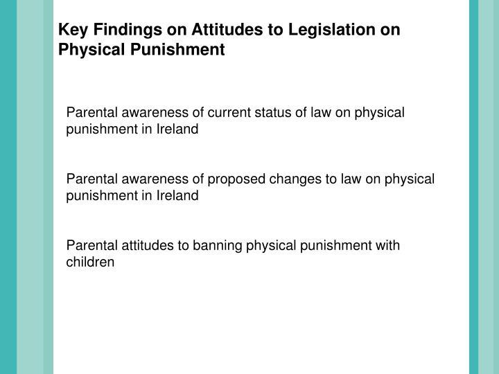 Key Findings on Attitudes to Legislation on Physical Punishment