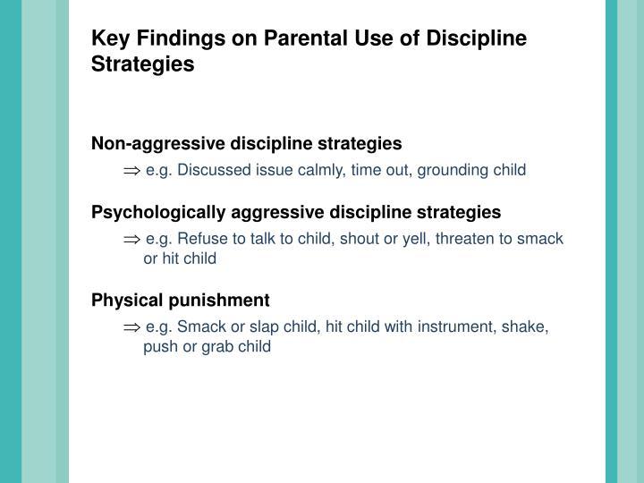 Key Findings on Parental Use of Discipline Strategies