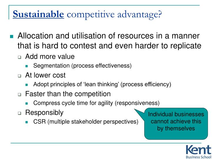 producing sustainable competitive advantage Valuable, rare, imperfectly imitable resources can produce sustainable competitive advantage only if they are non-sustainable resources assessing the need for strategic change the company should determine whether it needs to change its strategy to sustain a competitive advantage.