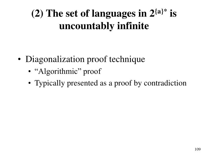 (2) The set of languages in 2