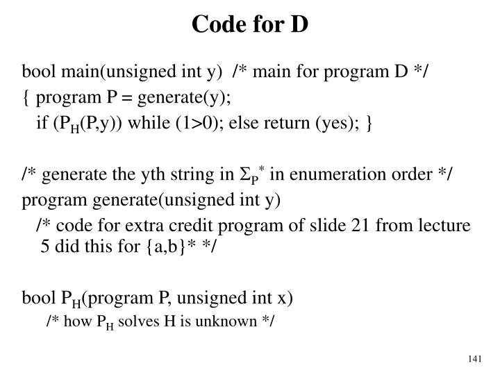 Code for D