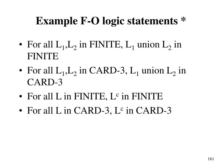 Example F-O logic statements *