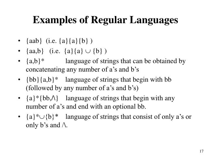 Examples of Regular Languages