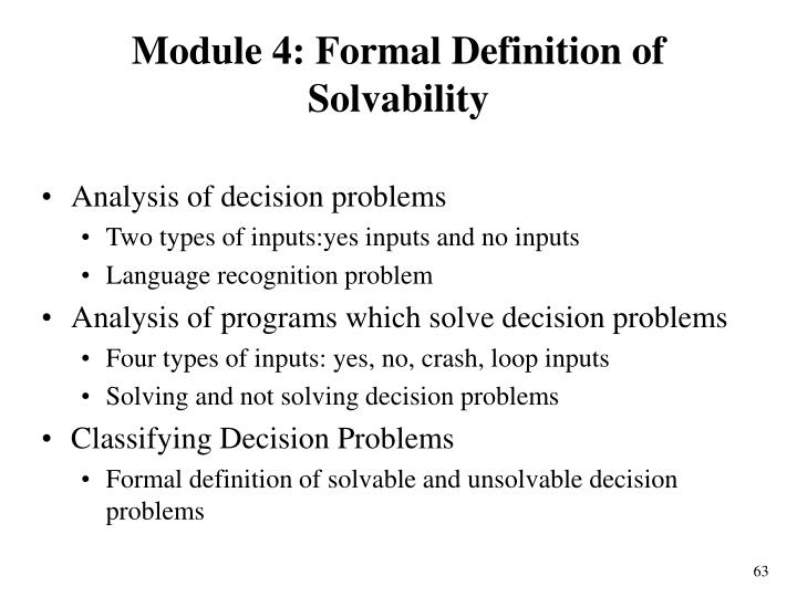 Module 4: Formal Definition of Solvability