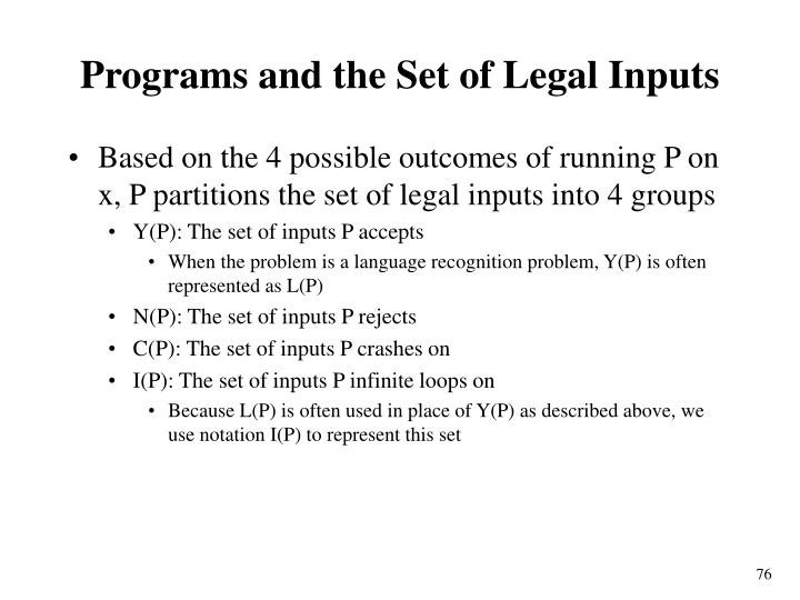Programs and the Set of Legal Inputs