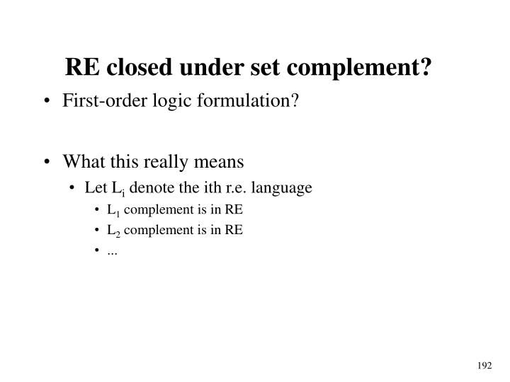 RE closed under set complement?