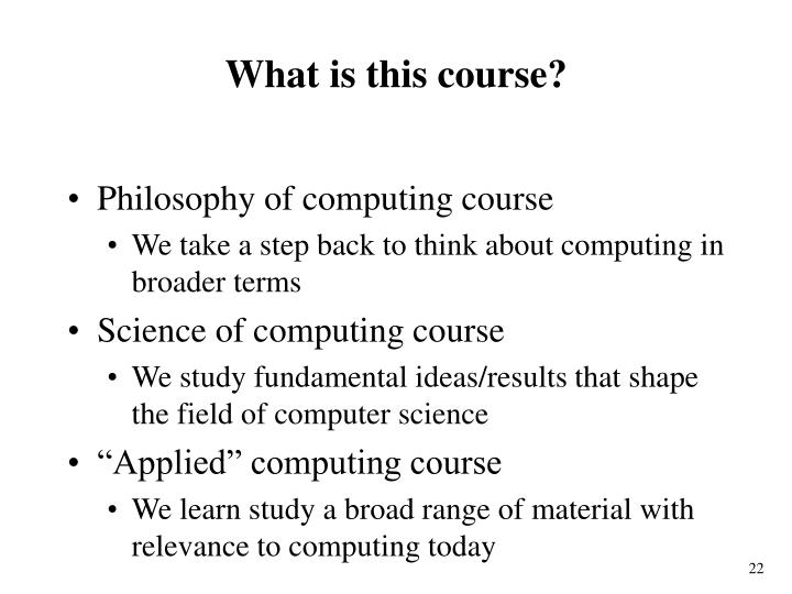 What is this course?